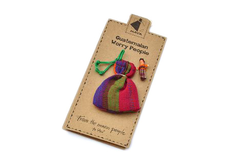 Photo of display card with a bag of worry people attached