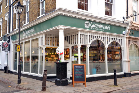 Exterior photo of Giambrone's cafe and delicatessen in Hertford